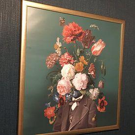 Klantfoto: Zelfportret met bloemen 3 van toon joosen, op fotoprint