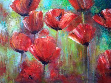klaprozen ( poppies) schilderij sur Els Fonteine
