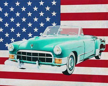 Cadillac Deville Cabriolet 1948 mit Flagge der U.S.A. von Jan Keteleer