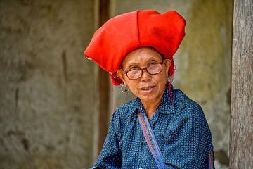 Red Dao woman in Sa Pa, Vietnam van Richard van der Woude