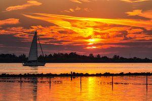 Zeilen tijdens zonsondergang