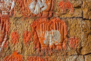 Texturkunst Indien Stil an der Wand, Indien von Tjeerd Kruse