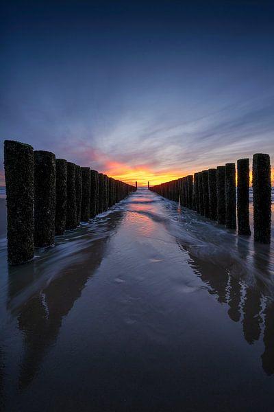 Golbreker bij zonsondergang Zeeland van Thom Brouwer