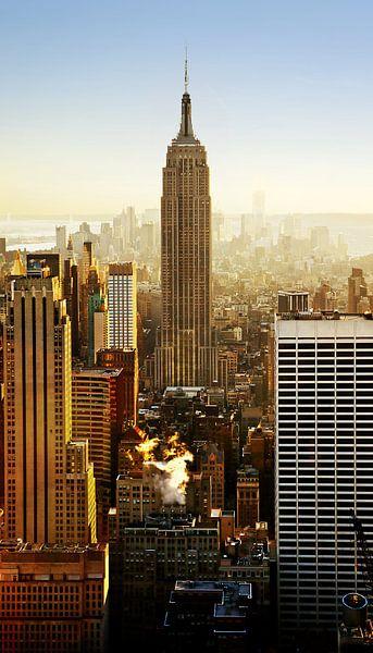 Empire State Building bij zonsopgang, Manhattan, New York City, USA van Roger VDB