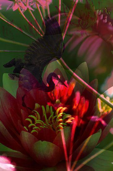 Droomwereld met bloemen en vogel