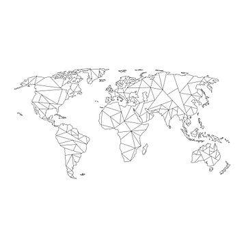 Geometrische Wereldkaart | Wandcirkel