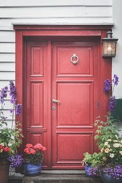 Rode deur met bloemen sur Joost Lagerweij