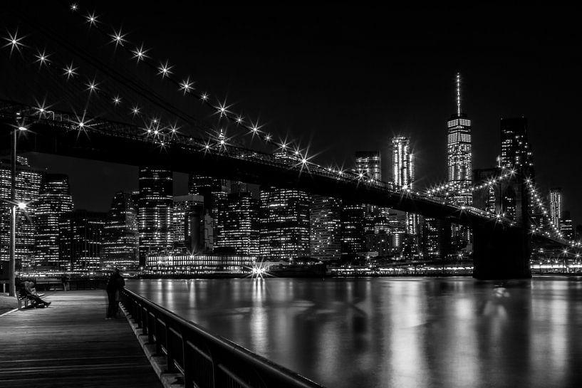 MANHATTAN & BROOKLYN indrukken 's nachts van Melanie Viola