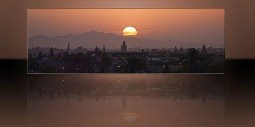 Zonsopkomst boven Marrakech van Bob de Bruin