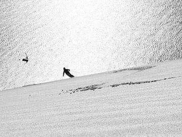 Skifahrer in den Lyngenalpen, Norwegen von