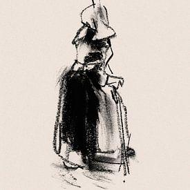 Huizervrouw met wandelstok sur Pieter Hogenbirk