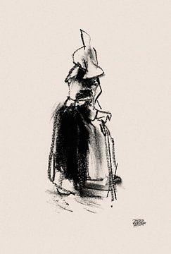 Huizervrouw met wandelstok van Pieter Hogenbirk