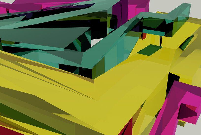 Tha Maze 6-2-6 (on White) von Pat Bloom - Moderne 3D, abstracte kubistische en futurisme kunst