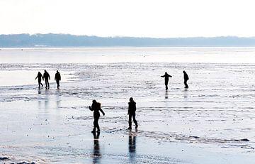 Winter in Nederland met schaatsers op het ijs. von Brian Morgan