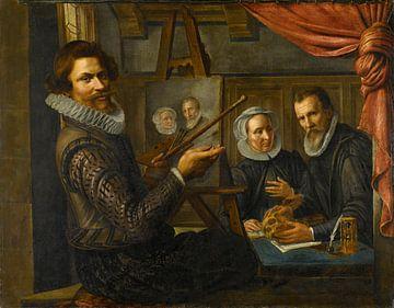 Der Maler in seinem Atelier malt das Porträt eines Ehepaares, Herman van Vollenhoven
