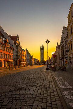 Stad Straubing stadsplein bij zonsondergang van Thilo Wagner