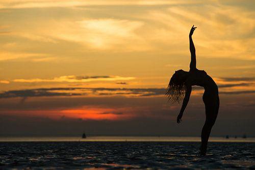 Artistiek naakt silhouette met zonsondergang op de waddenzee
