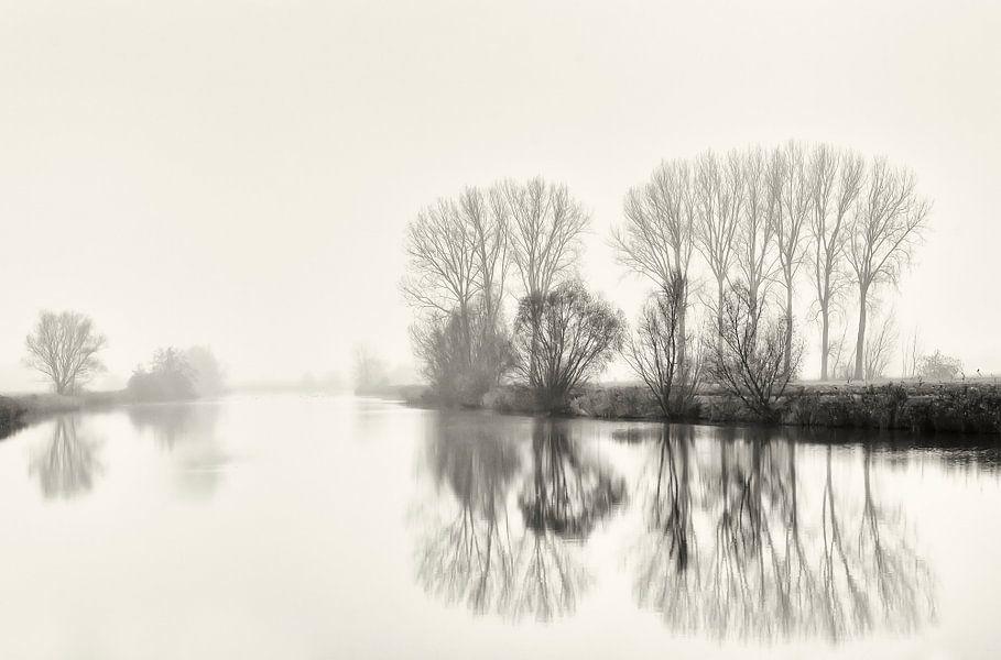 Mistig winters landschap met reflectie.