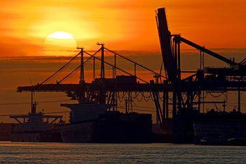 Coucher de soleil dans le port de Rotterdam sur