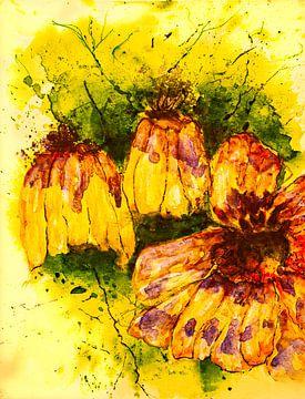 Blüten auf gelbem Hintergrund von Klaus Heidecker