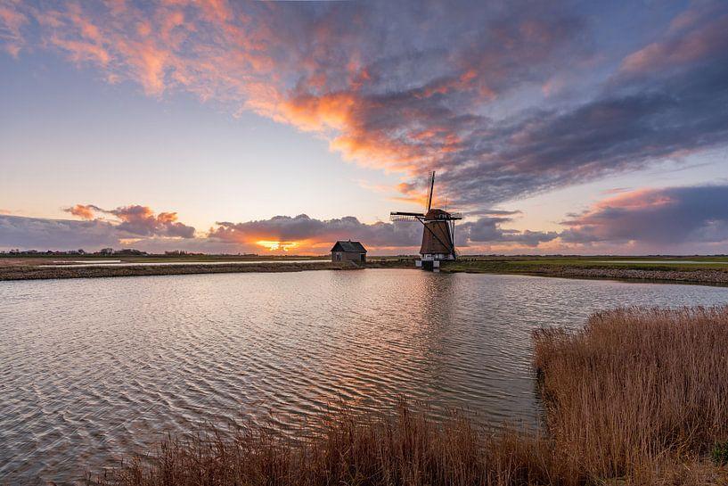 Texel molen het Noorden fire-sky van Texel360Fotografie Richard Heerschap