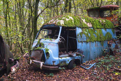 Van abandonné dans les bois.