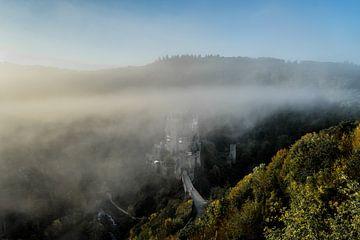 burg eltz in de mist van Michael van Dam