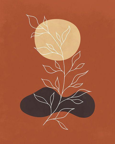 Minimalistisch abstract landschap met een plant in herfstkleuren van Tanja Udelhofen