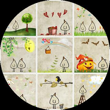 Kippenvogel Collage 3 van Marion Tenbergen
