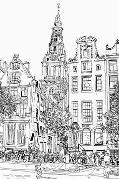 La peinture Kloveniersburgwal 50 vue d'Amsterdam sur Hendrik-Jan Kornelis