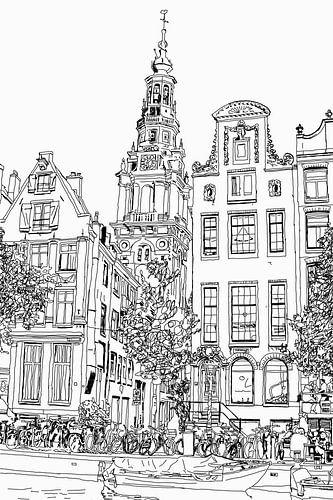 Pen Tekening Kloveniersburgwal 50 Amsterdam uitzicht