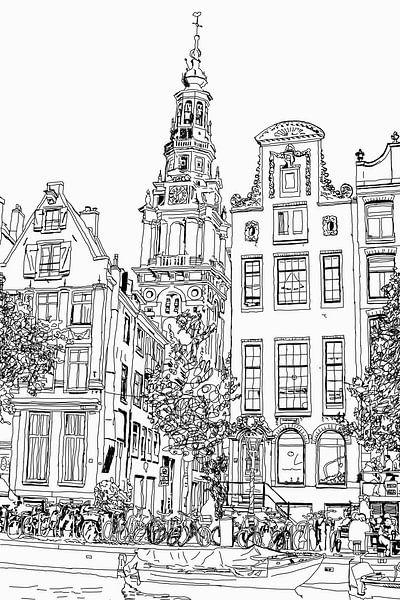 Tekening Zuiderkerk Amsterdam Pentekening Lijntekening van Hendrik-Jan Kornelis