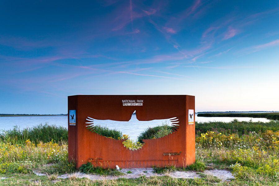 Gietijzeren kunstwerk voor Europese Zeearend in het landschap bij Lauwersoog