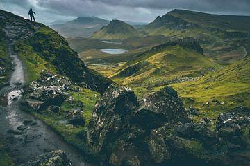 Quiraing, Isle of Skye, Schotland met wolkenlucht van