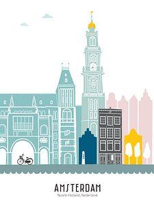 Skyline illustratie hoofdstad Amsterdam | Mokum in kleur