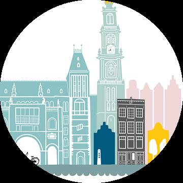 Skyline illustratie hoofdstad Amsterdam   Mokum in kleur van Mevrouw Emmer