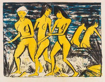 Vijf gele naakten aan het water, OTTO MUELLER, 1921 van Atelier Liesjes