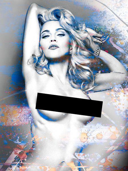 Madonna Wahrheit von Dare Naked Abstract Blau Orange von Art By Dominic