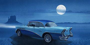 Blauwe nacht op Route 66 van Monika Jüngling