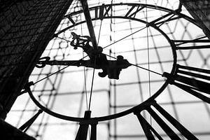 Achterzijde uurwerk in de Martinitoren in Groningen