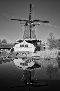 Molen de Ster in Utrecht met zijn reflectie in zwart-wit