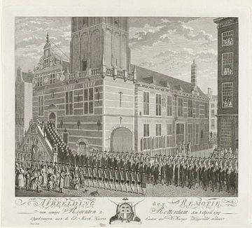 Ankunft der Delegation im Rotterdamer Rathaus, um die Absetzung einiger Ratsherren zu fordern, 1787,