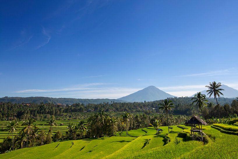 Agung vulkaan zonsopkomst op het eiland van Bali in Indonesië van Tjeerd Kruse