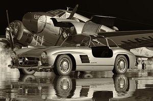 Mercedes 300SL Flügeltürer 1964 Schwarz und Weiß von Jan Keteleer