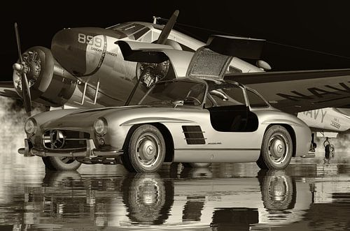 Mercedes 300SL Gullwings 1964 Zwart en Wit