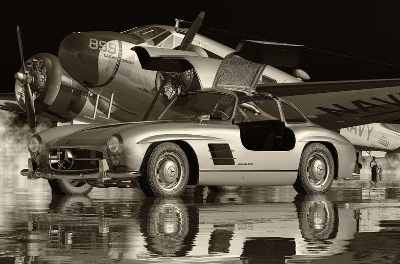 Mercedes 300SL Gullwings 1964 Zwart en Wit van Jan Keteleer