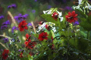 Wilde Bloemen (groen,purper en rood) sur Tejo Coen
