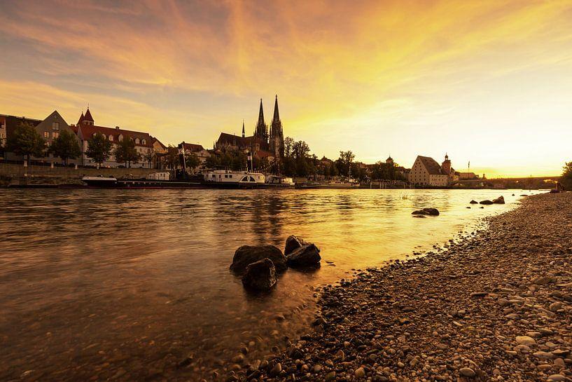 Regensburgse zonsondergang van Frank Herrmann