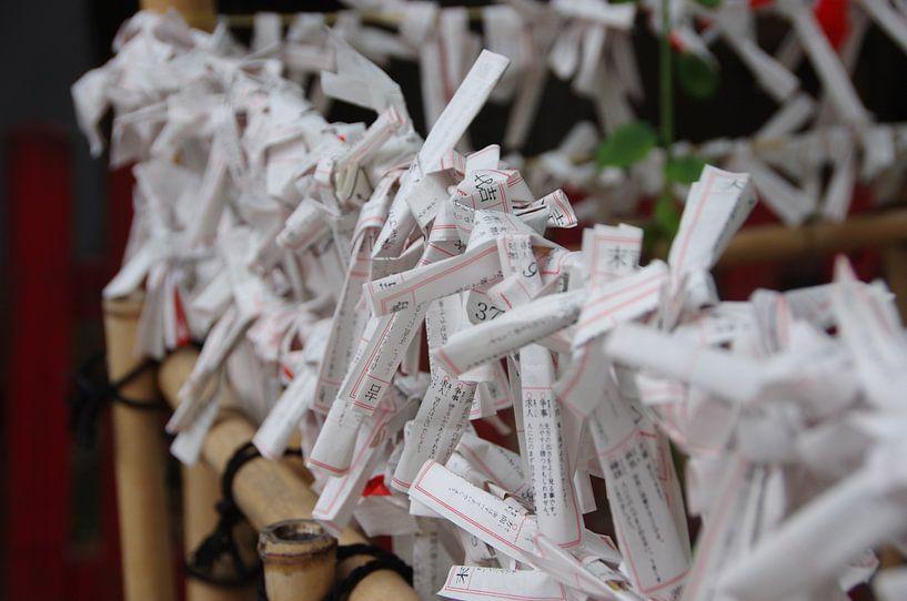 Paper luck in Japanese Shinto shrine sur Astrid Meulenberg