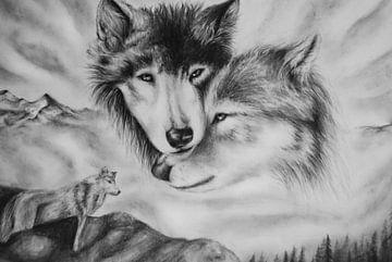 Tekening Wolven 2 von Cynthia Jansen